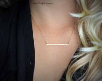 Gold Diamond Bar Necklace, Crystal CZ Bar Necklace, Sterling Silver, Gold, Rose Gold, Delicate Necklace, bridal necklace, bridesmaid