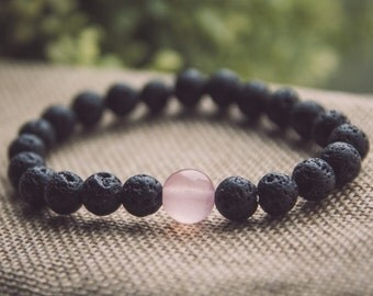 Volcanic lava and pink agate bracelet