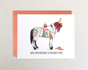 Best Ever Birthday Pony // Funny Whimsical Gift Horse Equestrian Pizza Cupcake Party Hat orange neutrals Folded Card by Paper Pony Co.