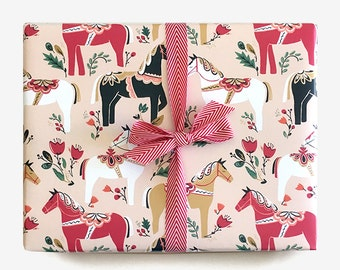 Dala Pony Gift Wrap in Blush / Single Sheet or Roll / Whimsical Pretty Horses Paper Floral Pink Red Holiday Woodland Modern Equestrian