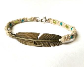 Bohemian Bracelet - Boho Beaded Bracelet, Wanderlust Jewelry, Bohemian Jewelry, Boho Bracelet, Festival Bracelet, Feather Bracelet, Native