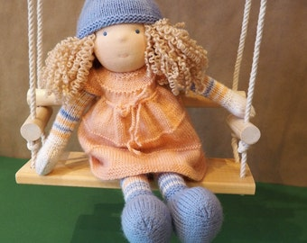 "Waldorf doll 14"", hand knitted doll, soft doll"