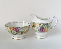 Royal Albert Chintz Cream and Sugar bowls -Vintage Tableware- Tea Party- Shabby Chic Home