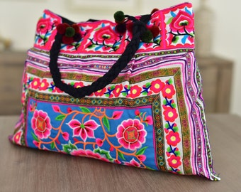 Floral Shoulder Bag - Blue & Pink