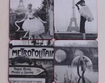 Vintage French Fashion Coasters Black & White Photos Unique Gift Hostess Gift Custom Made Birthday Gift