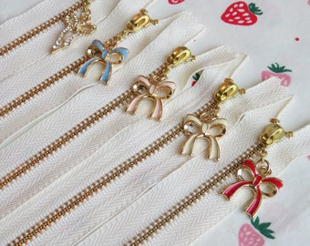 Set of 5 Atsuko Matsuyama A-Two Closed End Zipper with Ribbon Bow Zipper Pull | 20cm/8""