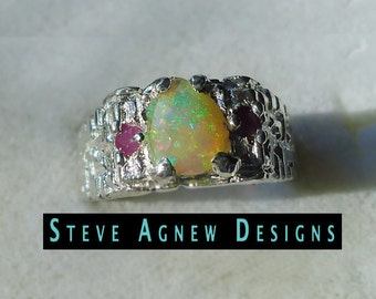 African Opal and Ruby Ring