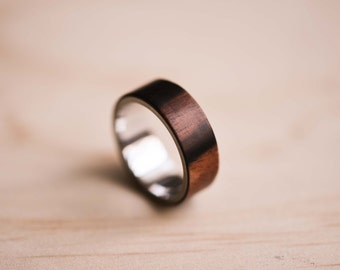 Macassar Ebony & Sterling Silver Bentwood Ring