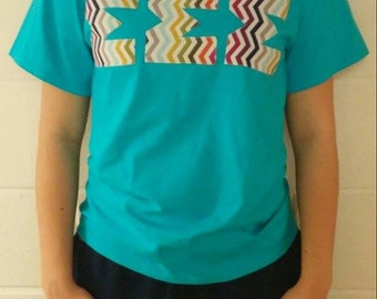 BRAND NEW Custom stitched Turquoise Tee SMALL