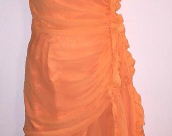 Vintage mid century Hot Coral Orange Ruffled Sheer Chiffon party dress size small