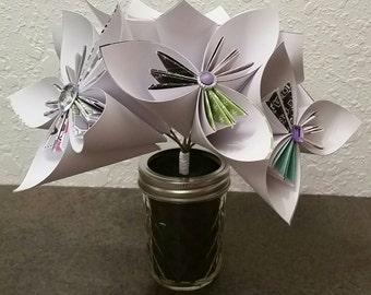 Paper Flowers - Kusudama Origami Flower Bouquet - Wedding Bouquets - Birthday Gift - Paper Flower Arrangement