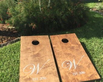 Last Initial and Est. Date Stained Wedding Cornhole / Bag Toss Boards w/Matching Bags
