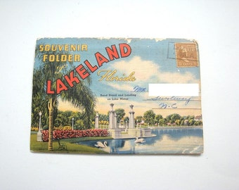Vintage Lakeland Florida souvenir folder with 18 inner folder featured pictures of the recreation Florida had to offer in the 1940's