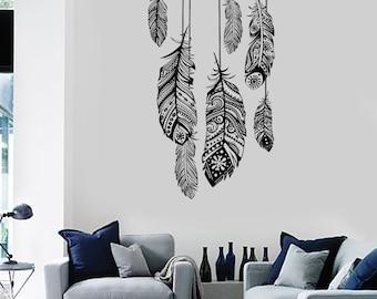 Wall Vinyl Decal Dreamcatcher Dream Catcher Ethnic Bedroom Feather Decor Mural Art 1488dz