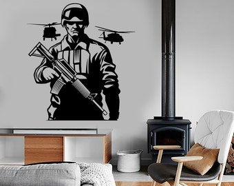 Wall Vinyl Army Soldier Helicopter Rifle Guaranteed Quality Decal Mural Art 1664dz