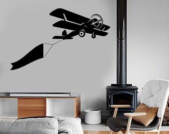 Wall Vinyl Decal Airplane Retro Jet Mural Sticker 1681dz