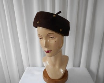 Vintage Chocolate Brown Felt Toque with Brass Studs 1960's  #20005
