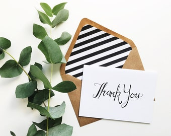 Hand lettered thank you card + lined envelope