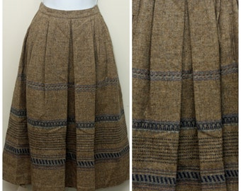 Vintage 80s Victoire Brown Wool Midi A-Line Skirt Size 8