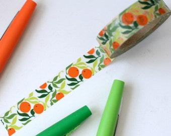 Orange Citrus Washi Tape - 1 Roll:  Orange / Lime Green - Oranges Japanese Washi Masking Tape