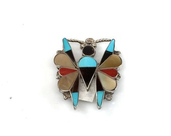 Handmade Native American Zuni Sterling Silver Multi Stone Butterfly Pin and Pendant
