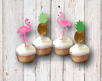 Flamingo Party Cupcake Picks, Cupcake Toppers, Pineapple Party, Party Decorations, Flamingo Birthday, Cake Toppers, Food Picks, Pineapples