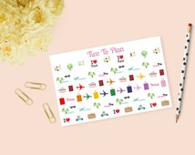 Travel Set! Airplanes, Suitcases, Passports, Boarding Passes, Roadtrip, Vacation! Planner Stickers Perfect for the Erin Condren Life Planner
