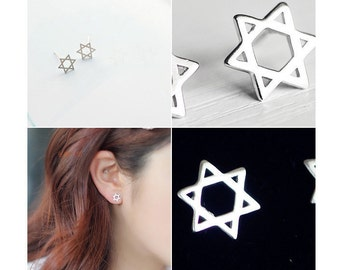 HOLIDAY SALE 40% OFF *** Small Hexagram Shaped Earrings – 925 Sterling Silver – Silver Color – Studs – Six-Pointed Star -  E003