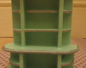 Art deco dolls house shelving unit, upcycled