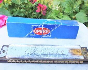 WW2 Vintage US ZONE Harmonica OPERA made in West Germany - Harmonica Opéra fabriqué en Allemagne de l'ouest dans la zone Américaine 1946