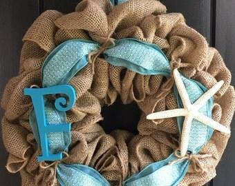 Burlap Beach Wreath-Vacation Home Wreath-Beach Shore House Wreath-Summer Wreath-Sea Star Wreath-Initial Wreath-Personalized Wreath