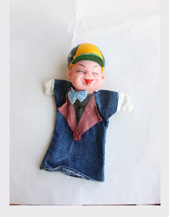 Vintage hand puppet with rubber head Little boy puppet doll Naughty kid with hat Retro puppet theatre Handpuppet fairy tale Shabby toys