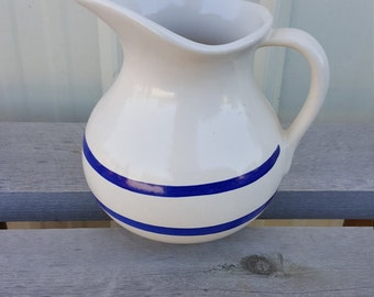 Vintage Pottery Water Wash Pitcher Cobalt Blue Stripes