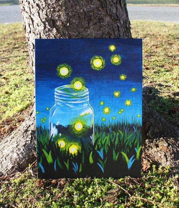 whimsical firefly mason jar acrylic painting on canvas