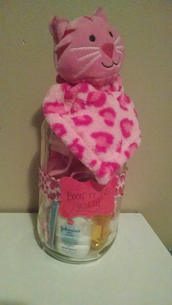 Baby gift jars : Baby shower gift jar born to be wild by lifeischaos on etsy