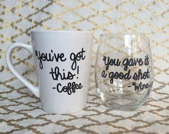 Coffee Mug and Wine Glass Combo - Customizable