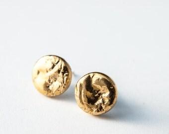 Mens earrings, earrings for men, gold earrings, tiny earrings, ceramic earrings, porcelain earrings, gold stud earrings, minimal earrings