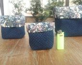 Set of three reversible fabric basket, Dorm decor Blue storage basket with rose decor - Desk organizer