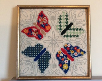 Framed Vintage Butterfly Needlepoint