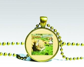 White Rabbit Alice in Wonderland PENDANT Alice Necklace, alice pendant, Alice in Wonderland Charm Wonderland Pendant Alice Charm.