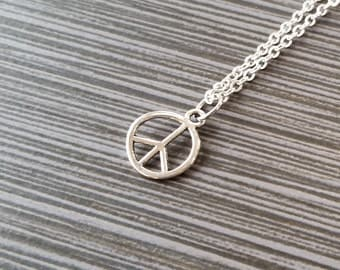 Silver Peace Sign Necklace - Peace Charm Pendant - Personalized Necklace - Custom Gift - Initial Necklace - Personalized Gift - Peace Charm