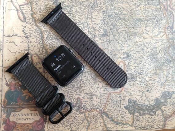 Apple watch original, series 1, series 2 band: Nato/zulu strap 2-piece Apple watch / Apple watch band (Dark Gray), Free Shipping Worldwide!