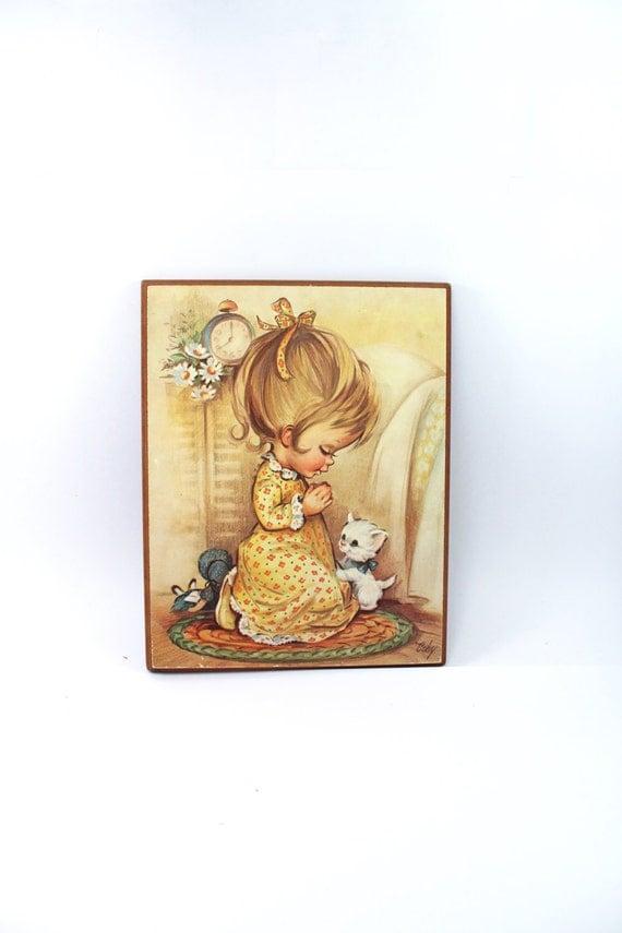 Vintage Little Girl Praying Print