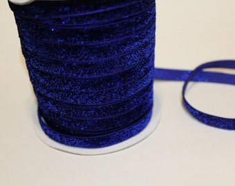 "Royal Blue Glitter Ribbon, Glitter Trim, Skinny Ribbon, 3/8"" Wide, By the Yard, 3 5 10 50 Yards, Hairbows, Bows, Headbands, Scrapbooking"