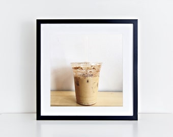 """Iced Coffee Cold Brew Still Life, Square 5"""" x 5"""", Fine Art Photography, Wall Art Decor"""
