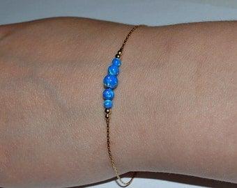OPAL BRACELET // Opal Ball Bracelet - Opal Jewelry - Dark Blue Opal Bracelet Gold - Dot Bracelet - Opal Bead Bracelet - Opal Charm Bracelet