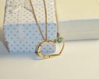 HEART NECKLACE // Heart Kiwi Green Opal Pendant Necklace - Heart Drop Necklace Gold - Heart Jewelry - Heart Charm Necklace