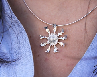 Flower Necklace, Unique Pendant, Sterling Silver, Hand made, Women, Natural, Feminine
