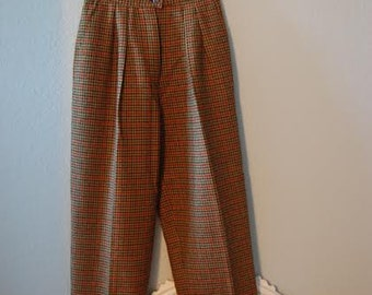 Plaid High-Waisted Wool Trousers