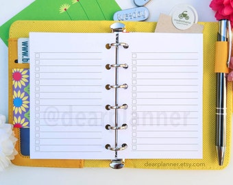 PRINTED Lined checklist insert - Pocket TO-DO planner insert - Lined pages planner refill - Notes to do insert - Pocket size insert - K-09